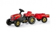 012121 Rolly Toys RollyKiddy Traptractor rood + Aanhangwagen