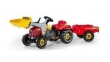 023127 Rolly Toys RollyKid-X Tractor rood + Lader + Aanhangwagen